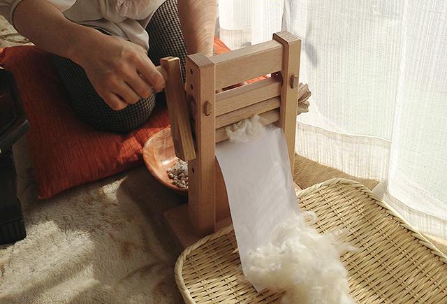 和綿糸紡ぎワークショップ