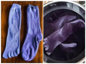 紫根染め靴下